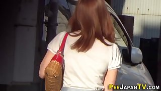 japanese babes pee publicly in car park