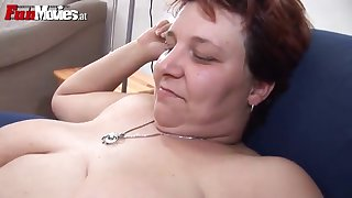 mature bbw plays with a hard cock before strapon fucking