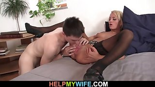 he licks and fucks his young blonde wife