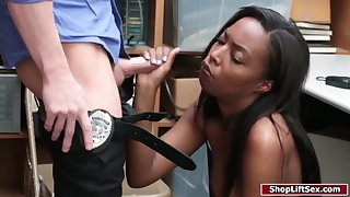 ebony thief gets caught and then fucked by officer