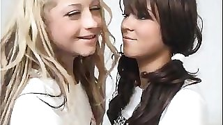 Blonde Teen Fucks A Brunette Schoolgirl With Belt dick